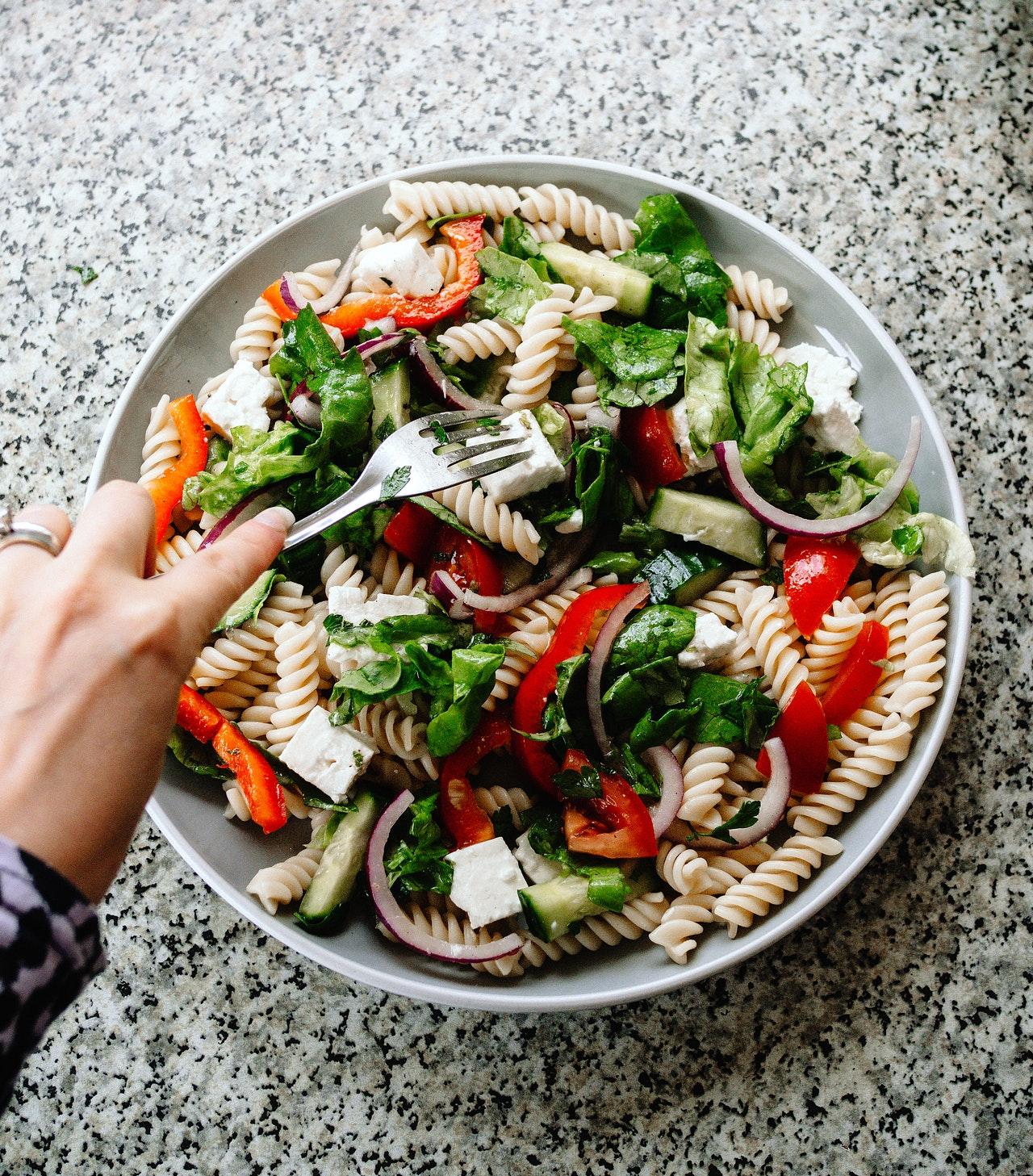 vegetarian pasta salad in a bowl