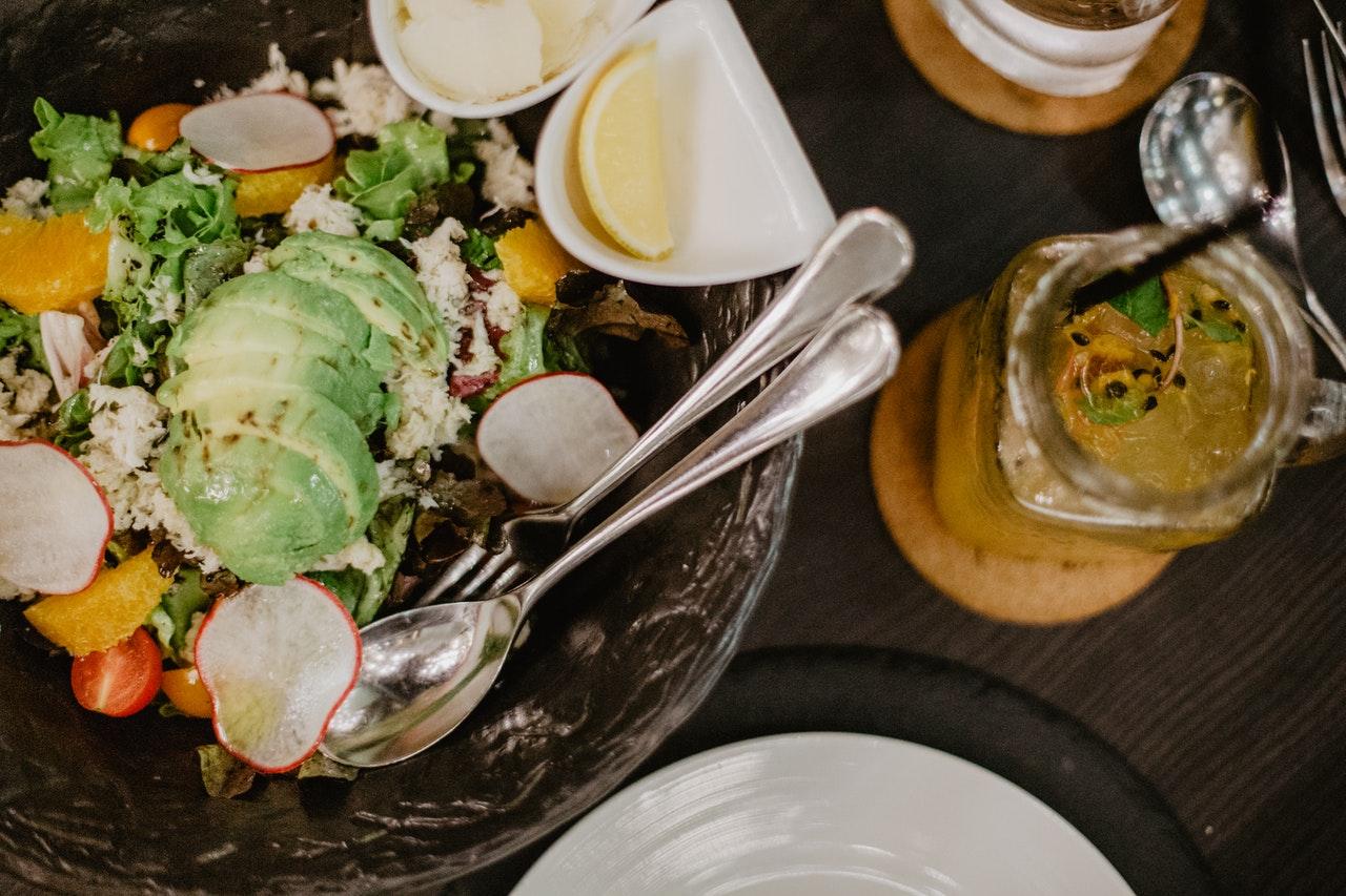 salad served in wooden bowl