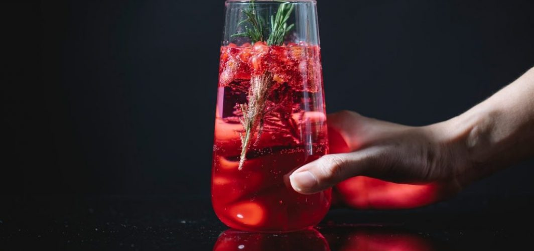 woman holding a glass of red cocktail